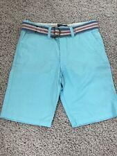 H&M L.O.G.G. Boy's Size 7-8 Blue Green Flat Front Shorts Belt Adjustable Waist