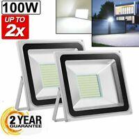 2 x 100W Led Flood Light Outdoor Spotlight Garden Yard Square 6000K Cool White