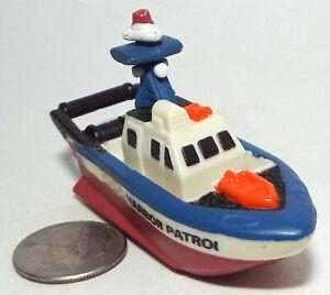 Small Micro Machine Plastic Harbor Patrol Boat (Red Hull)