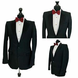 Vintage Mens Tuxedo Dinner Suit Jacket Chest 36 Black Formal  P78