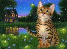 Bengal kitten cat summer cottage fireflies evening OE aceo print art