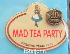 Disney WDW Cast Name Tag Pin Collection Mad Tea Party 40 Years Alice Pin