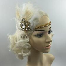 1920s Gatsby Style Crystal Headband Feather Flapper Wedding Headpiece Gold