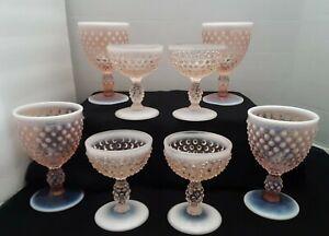 RARE Duncan & Miller Pink Opalescent Hobnail Drinkware Stemware Lot of 8