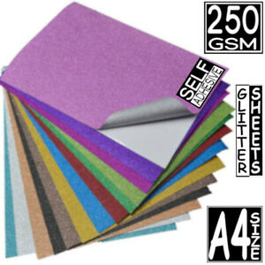 50X PREMIUM CHUNKY GLITTER PAPER SPARKL A4 250GSM SHEET CRAFT BAG WALL DECOR BOW