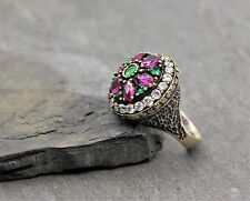 925 Sterling Silber Damen Ring Statement Silberring Synth Rubin Smaragd Zirkonia