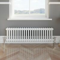 Traditional Colosseum Horizontal Double Bar Radiator 300 x 1000mm White NDT