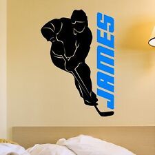 Personalized Hockey Player Wall Decal Removable Wall Lettering