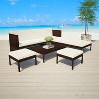 vidaXL 15 Piece Outdoor Sofa Set Poly Rattan Wicker Brown Garden Chairs Table