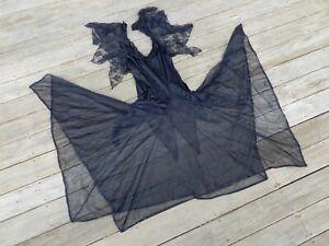 1980s black nylon witchy maxi gown goth sissy Elvira Morticia Addams sexy dress