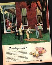 1947 US Beer Brewers #7 in Series Horseshoe Pitching Falter Vintage Print Ad 931