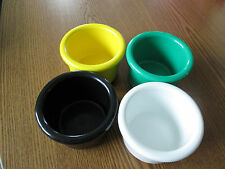"Crock style bird or pet water/food plastic dish 08"" oz.bowl set of 4"