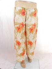 Womens New Casual Summer Wide Leg Floral Print Linen Trousers Pants sz 14 L B42