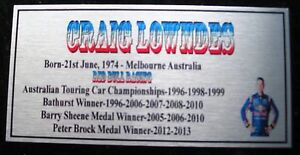 CRAIG Lowndes 3 time Aust Champ  Silver picture Sublimated Plaque FREE POSTAGE