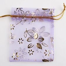 50x Retail Nice Purple Organza Wedding Favours Jewelry Pouch Gift Bags 7x9cm LC