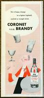 1954 Coronet VSQ Brandy PRINT AD Happy Change Lighter Highball Cocktail Straight