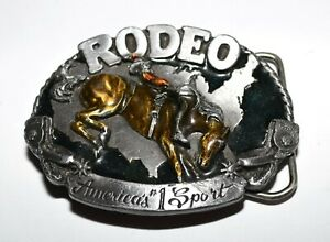 1983 Rodeo America #1 Sport by Siskiyou Bucking Bronco Silver Tone Belt Buckle