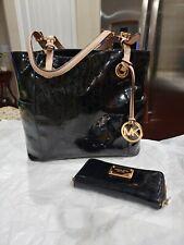 Michael kors black mirrored jet set tote handbag & matching wallet set preowned
