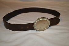 "Womens Size M 34 Brown Leather Belt 1-1/2"" wide Abercrombie & Fitch Belt"