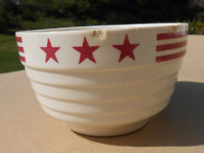 Vintage McCoy Red Stars & Stripes Small Pottery Bowl - 1940's