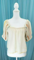 Urban Outfitters Cream Crop Top Embroidered Sleeves Size Medium New Without Tags