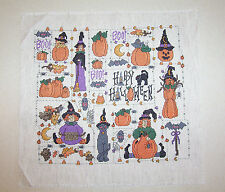 Hand Stitched Happy Halloween Witch Cross Stitch Picture Unframed
