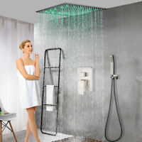 10 inch LED Rain Shower Combo Set Square Shower Head&Hand Shower Brushed Nickel