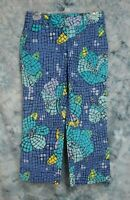 Lilly Pulitzer Womens 2 (28x26) Blue Green Stained Glass Floral Cropped Pants