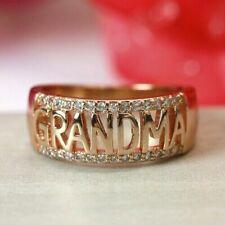 1PC Zircon Rose Gold Silver Grandma Rings Rhinestone Grandma Jewelry Gift Sz5-12