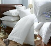 Broderie Anglaise Duvet Cover Set in White King Bed Size Polycotton
