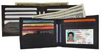 Men's Genuine Leather Slim Bifold Wallet ID Card Holder Black Brown Thin