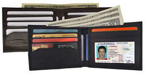 Men's Genuine Leather Slim Bifold Wallet ID Card Holder Black Brown Thin