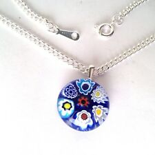 Blue Glass Flower Pendant Nacklace. Silver Chain with Murano Millefiori