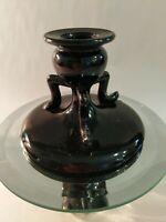 A Single Black Amethyst Glass Greek Urn Style Candlestick Holder