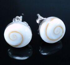 L'oeil De Shiva Coquille Goujon Escargot Spirale Boule 8 mm Boucles d'oreilles