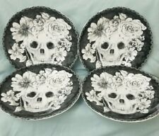 222 Fifth Marbella Skull Halloween Plates Set of 4 Black White Floral 8 1/2 NEW