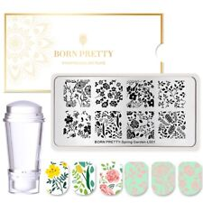 3Pcs Flowers Nail Art Stamping Plates Jelly Clear Dual-ended Stamper Scraper Set