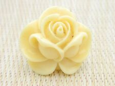 Beige Acrylic Large Flower Silver Tone Stretch Ring 5