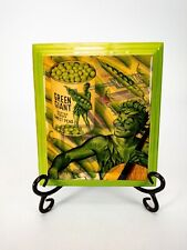 """Original Vintage Jolly Green Giant Ad Resined Wooden Plaque 7.5"""" x 6.5"""""""