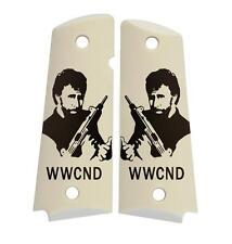 Custom Full Size 1911 Grips Ambidextrous Chuck Norris WWCND on Imitation Ivory