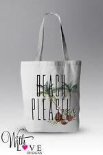 BEACH PLEASE PALM TREE BEACH BAG TOTE SHOPPER SHOPPING BAG PERSONALISED GIFT