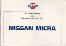 NISSAN MICRA K10 Betriebsanleitung 1986 Handbuch Scheckheftanteil blanco BA