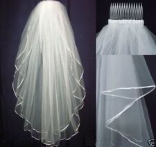 2 Tier White/Ivory Tulle Wedding Veil  Elbow Bridal Veils Satin Edge With Comb