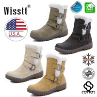 Women's Snow Ankle Boots Winter Leather Fur Lined Warm Waterproof Ski Shoes Size