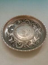 CHINEA FOLK old Carved Tibetan silver plate double dragon ornaments Bogut