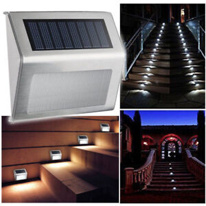 2PCS 3 LED Solar Power Stair Light Outdoor Garden Pathway Step Decking Wall Lamp
