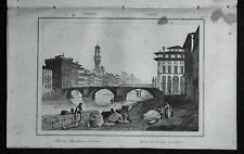 ITALIA:FIRENZE, VEDUTA CITTA CON PONTE SANTISSIMA TRINITA...LEMAITRE.Artaud.1835
