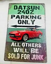 """18"""" Huge Datsun 240z car parking only other sold $ junk garage Usa metal Ad sign"""