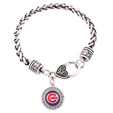 Chicago Cubs Silver Plated Fashion Bracelet Round Dangle Team Logo Charm Jewelry