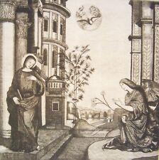 INCISIONE A BULINO - Stampa d'Arte - Annunciazione dell'Angelo a Maria - Cozzi -